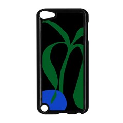 Flower Green Blue Polka Dots Apple iPod Touch 5 Case (Black)