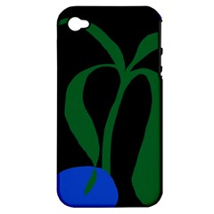 Flower Green Blue Polka Dots Apple iPhone 4/4S Hardshell Case (PC+Silicone)