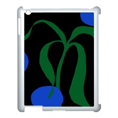 Flower Green Blue Polka Dots Apple iPad 3/4 Case (White)