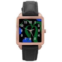 Flower Green Blue Polka Dots Rose Gold Leather Watch