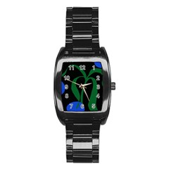 Flower Green Blue Polka Dots Stainless Steel Barrel Watch
