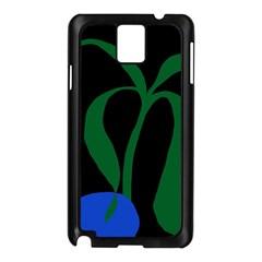 Flower Green Blue Polka Dots Samsung Galaxy Note 3 N9005 Case (Black)