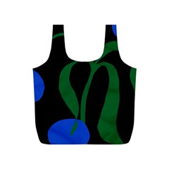 Flower Green Blue Polka Dots Full Print Recycle Bags (s)