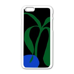 Flower Green Blue Polka Dots Apple iPhone 6/6S White Enamel Case