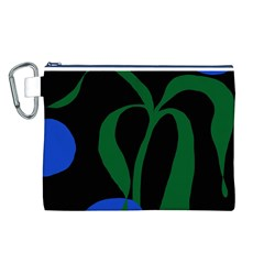 Flower Green Blue Polka Dots Canvas Cosmetic Bag (L)