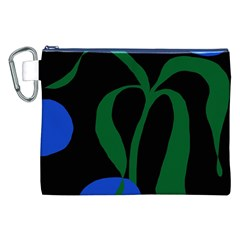 Flower Green Blue Polka Dots Canvas Cosmetic Bag (XXL)