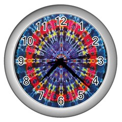 Circle Purple Green Tie Dye Kaleidoscope Opaque Color Wall Clocks (Silver)