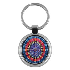 Circle Purple Green Tie Dye Kaleidoscope Opaque Color Key Chains (Round)