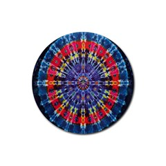 Circle Purple Green Tie Dye Kaleidoscope Opaque Color Rubber Round Coaster (4 pack)
