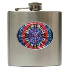 Circle Purple Green Tie Dye Kaleidoscope Opaque Color Hip Flask (6 oz)