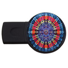 Circle Purple Green Tie Dye Kaleidoscope Opaque Color USB Flash Drive Round (4 GB)