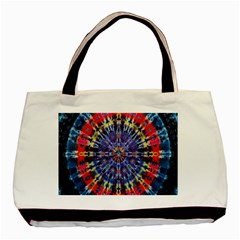 Circle Purple Green Tie Dye Kaleidoscope Opaque Color Basic Tote Bag