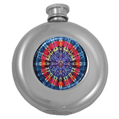 Circle Purple Green Tie Dye Kaleidoscope Opaque Color Round Hip Flask (5 oz)