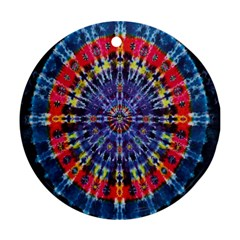 Circle Purple Green Tie Dye Kaleidoscope Opaque Color Round Ornament (Two Sides)