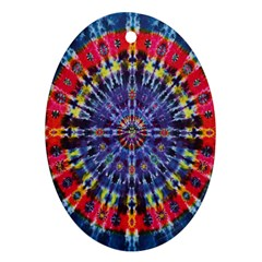 Circle Purple Green Tie Dye Kaleidoscope Opaque Color Oval Ornament (Two Sides)
