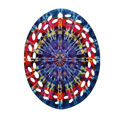 Circle Purple Green Tie Dye Kaleidoscope Opaque Color Oval Filigree Ornament (Two Sides)