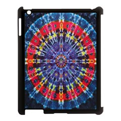 Circle Purple Green Tie Dye Kaleidoscope Opaque Color Apple iPad 3/4 Case (Black)