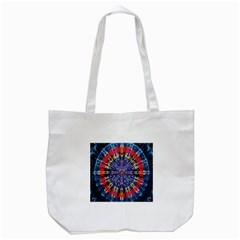Circle Purple Green Tie Dye Kaleidoscope Opaque Color Tote Bag (White)