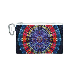 Circle Purple Green Tie Dye Kaleidoscope Opaque Color Canvas Cosmetic Bag (S)