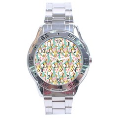 Wooden Gorse Illustrator Photoshop Watercolor Ink Gouache Color Pencil Stainless Steel Analogue Watch