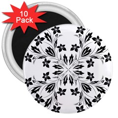 Floral Element Black White 3  Magnets (10 pack)