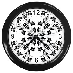 Floral Element Black White Wall Clocks (Black)