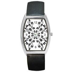 Floral Element Black White Barrel Style Metal Watch