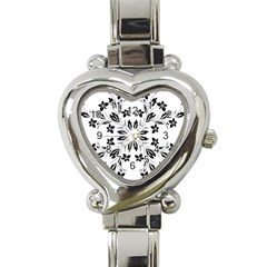 Floral Element Black White Heart Italian Charm Watch
