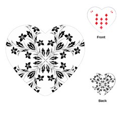 Floral Element Black White Playing Cards (Heart)