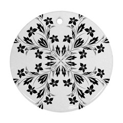 Floral Element Black White Round Ornament (Two Sides)