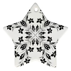 Floral Element Black White Star Ornament (Two Sides)