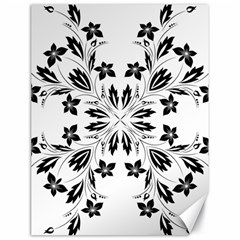 Floral Element Black White Canvas 18  x 24