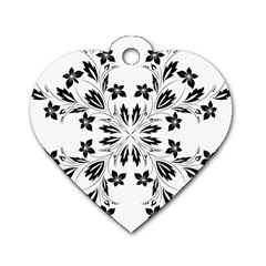 Floral Element Black White Dog Tag Heart (One Side)