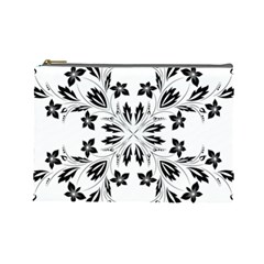 Floral Element Black White Cosmetic Bag (Large)