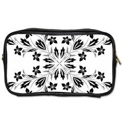 Floral Element Black White Toiletries Bags