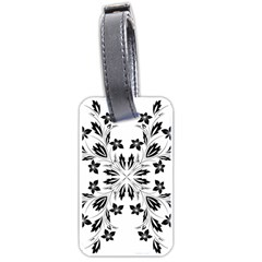 Floral Element Black White Luggage Tags (Two Sides)