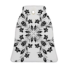 Floral Element Black White Bell Ornament (Two Sides)