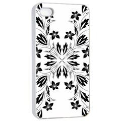 Floral Element Black White Apple Iphone 4/4s Seamless Case (white)