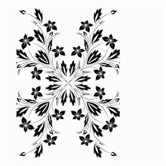 Floral Element Black White Small Garden Flag (Two Sides)