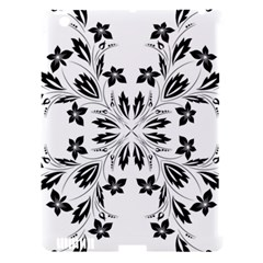 Floral Element Black White Apple iPad 3/4 Hardshell Case (Compatible with Smart Cover)