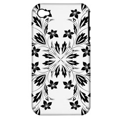 Floral Element Black White Apple Iphone 4/4s Hardshell Case (pc+silicone)