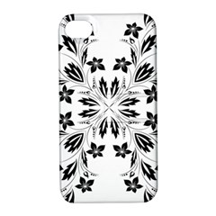 Floral Element Black White Apple iPhone 4/4S Hardshell Case with Stand