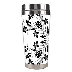 Floral Element Black White Stainless Steel Travel Tumblers