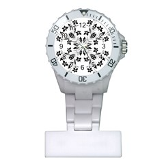 Floral Element Black White Plastic Nurses Watch