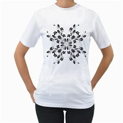 Floral Element Black White Women s T Shirt (white)