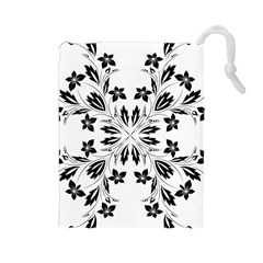 Floral Element Black White Drawstring Pouches (Large)