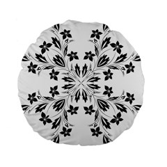 Floral Element Black White Standard 15  Premium Flano Round Cushions