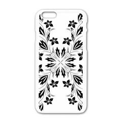 Floral Element Black White Apple iPhone 6/6S White Enamel Case