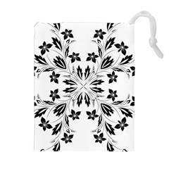 Floral Element Black White Drawstring Pouches (Extra Large)