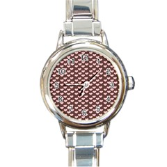 Chocolate Pink Hearts Gift Wrap Round Italian Charm Watch